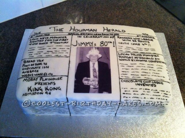 Coolest Newspaper Front Page Cake For 80th Birthday