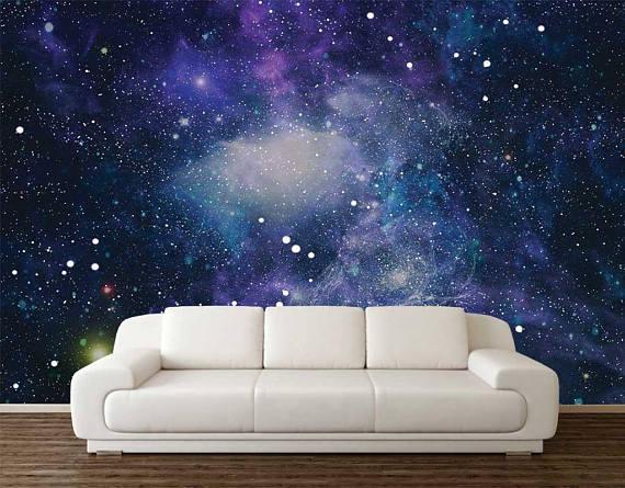 Space Wallpaper Wall Mural Stars Planets Wallpaper Wall Etsy Space Wall Decals Wall Murals Kids Bedroom Wallpaper