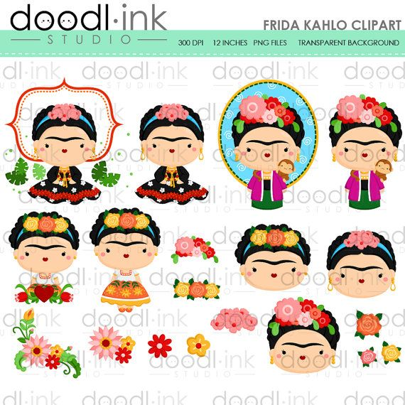 Frida Kahlo Clipart Mexican Painter Cute Cartoon Clip Art Etsy Clip Art Cartoon Clip Art Frida Kahlo
