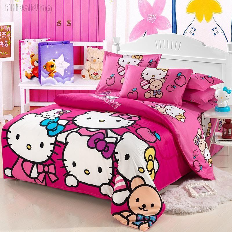 Beauty Rose Red Hello Kitty Bedding Set Cartoon Character