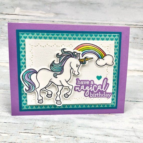 unicorn handmade card  rainbow birthday card  unicorn
