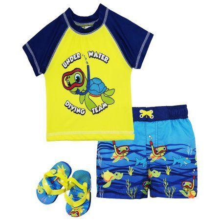 75c61a124f Wippette Baby Boys Swimwear Turtle Rashguard Top Swim Trunk with Flip Flops  #babyswimtrunks