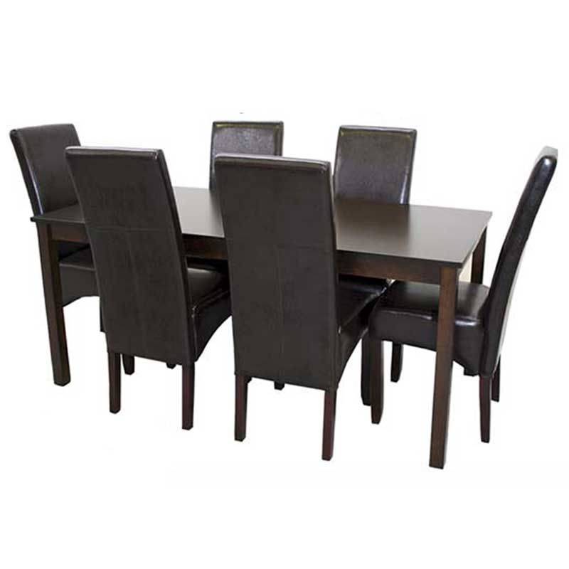 This Set Includes 1 X E012 180x90cm Dining Table Mahogany 6 X Rex Dining Chair Shiny Brown Or Litchi Brown Or Cream C Dining Table Dining Chairs Furniture