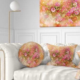 Designart 'Spring Background with Little Flowers' Floral Throw Pillow (Square - 16 in. x 16 in. - Small), Pink, DESIGN ART(Polyester)