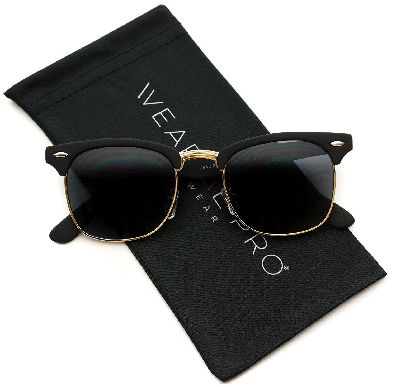Mens sunglasses semirimlessretro classic metal half