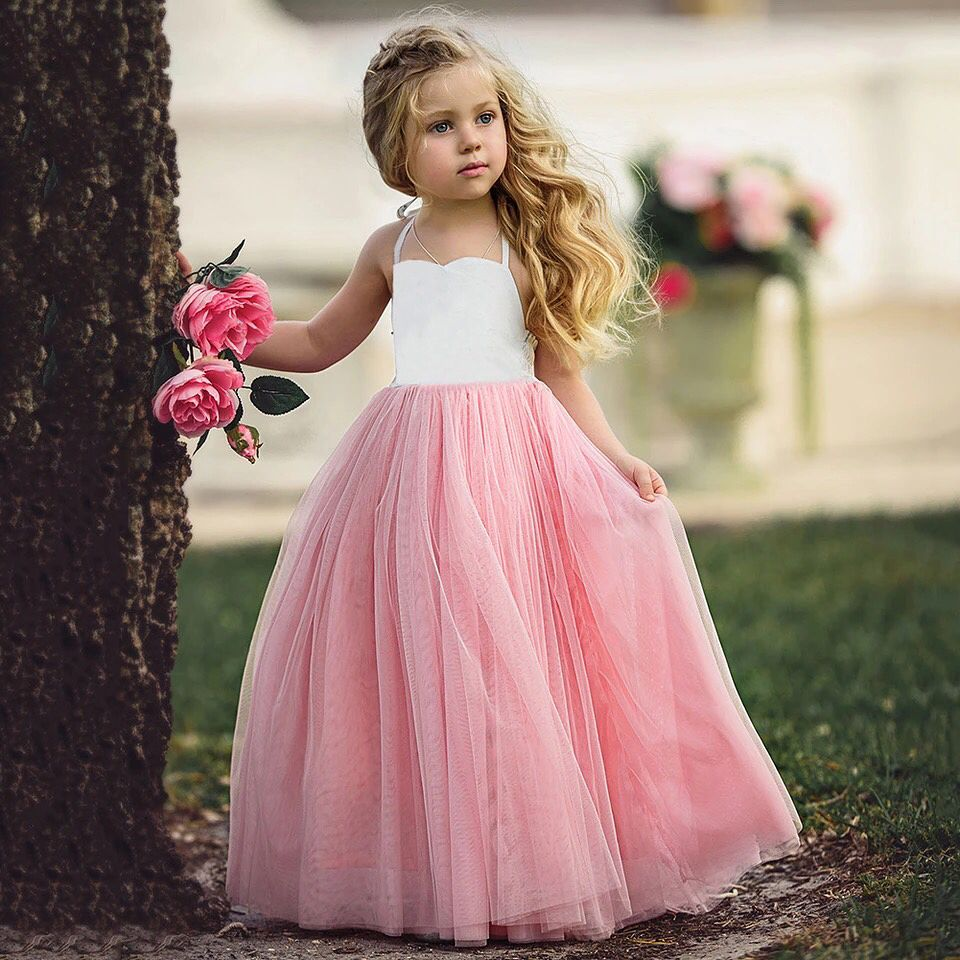 SALE 4//5 yrs Girls White Lace Upper Bridesmaid Flower Girl Occasion Party Dress