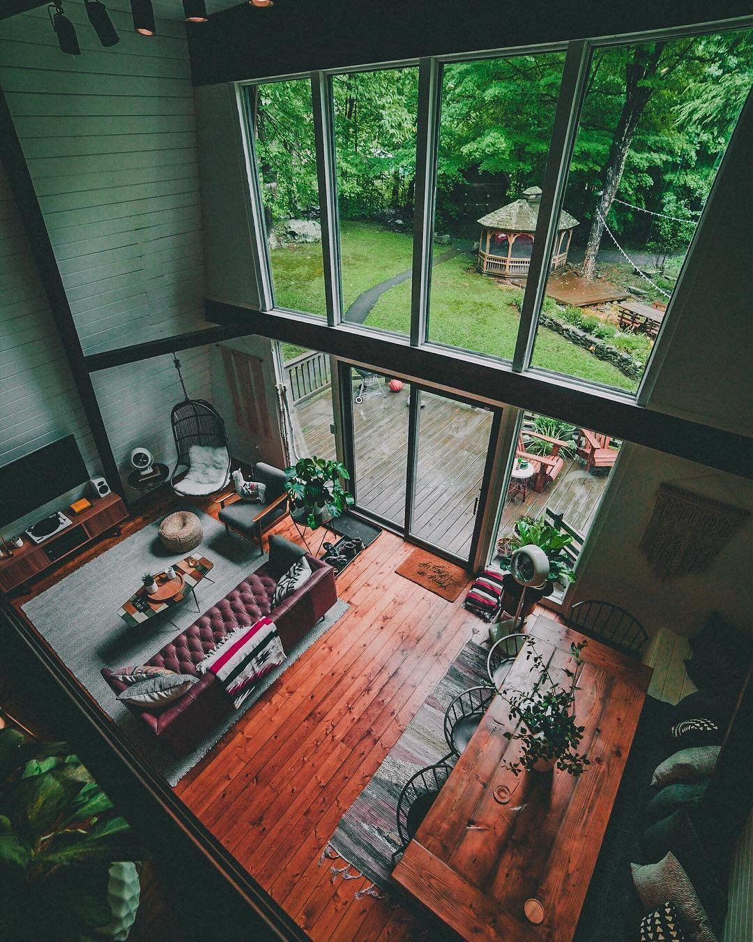 Loft style living room with floor to ceiling windows in tannersville new york  roomporn  dont care much for the decor but that set up also home interior design  inspiration lovely house rh pinterest