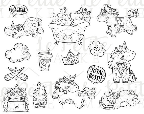 Unicorn Digital Stamp Bundle Kawaii Unicorn Clipart Bundle