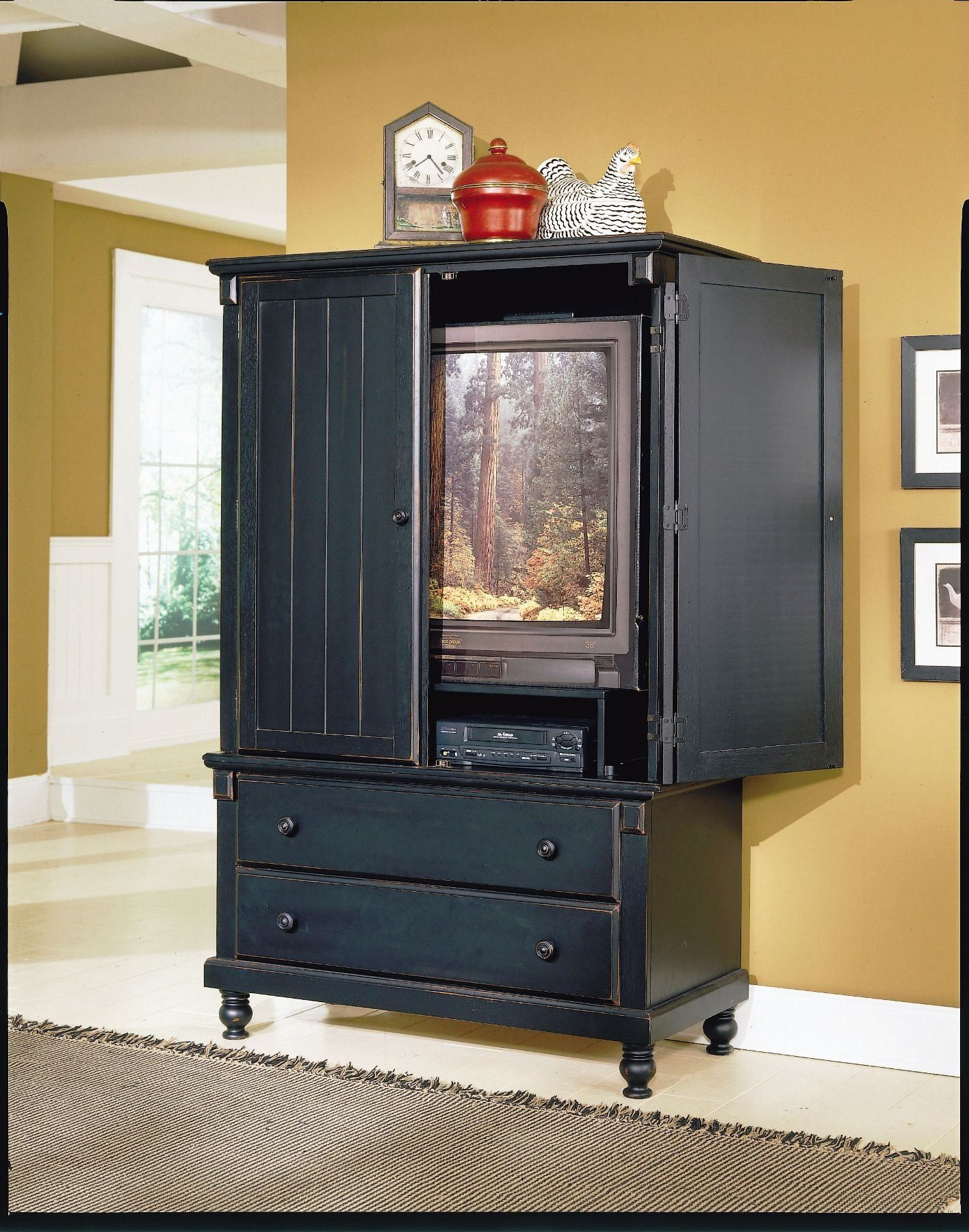 Pottery Black Armoire | For Our House | Tv armoire, Black bedroom ...