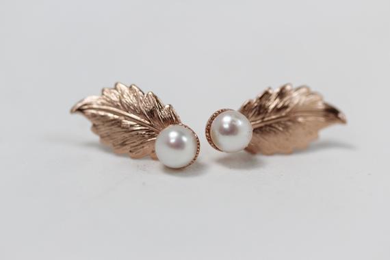 Photo of Fall Leaves Pearls Stud Earrings Gold Leaf Earrings, Nature Inspired Jewelry Boho Earring, Dainty Earrings, Goddess Jewelry, Bridal Studs