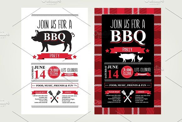 2 Barbecue invitations by BarcelonaShop on @creativemarket To - bbq invitation template