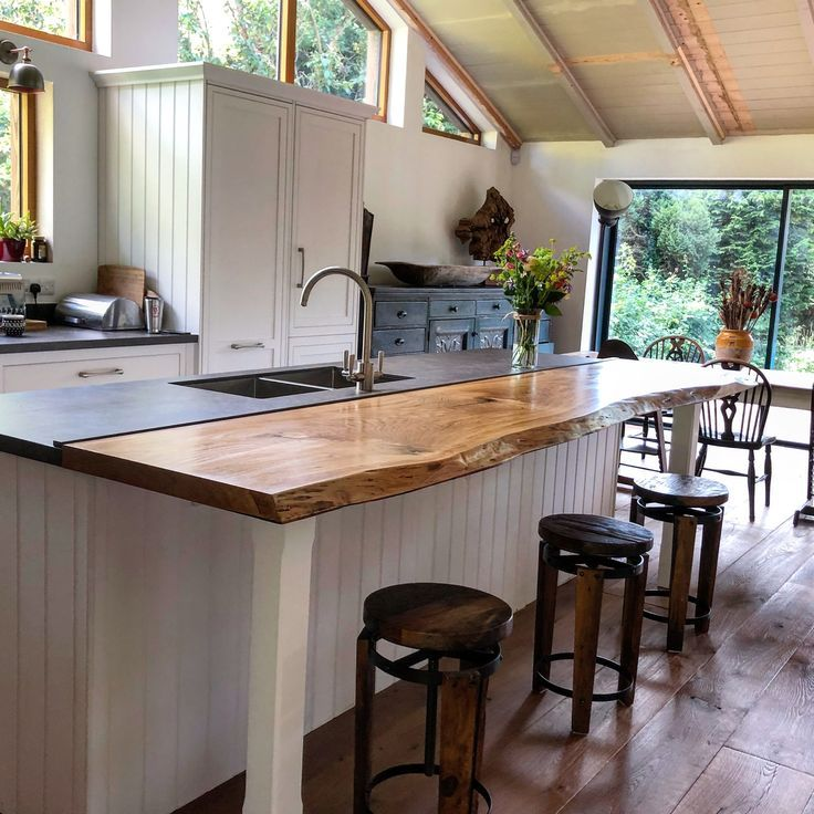 Kitchen Design Sussex: Earthy Live Edge Breakfast Bar Handcrafted In Sussex