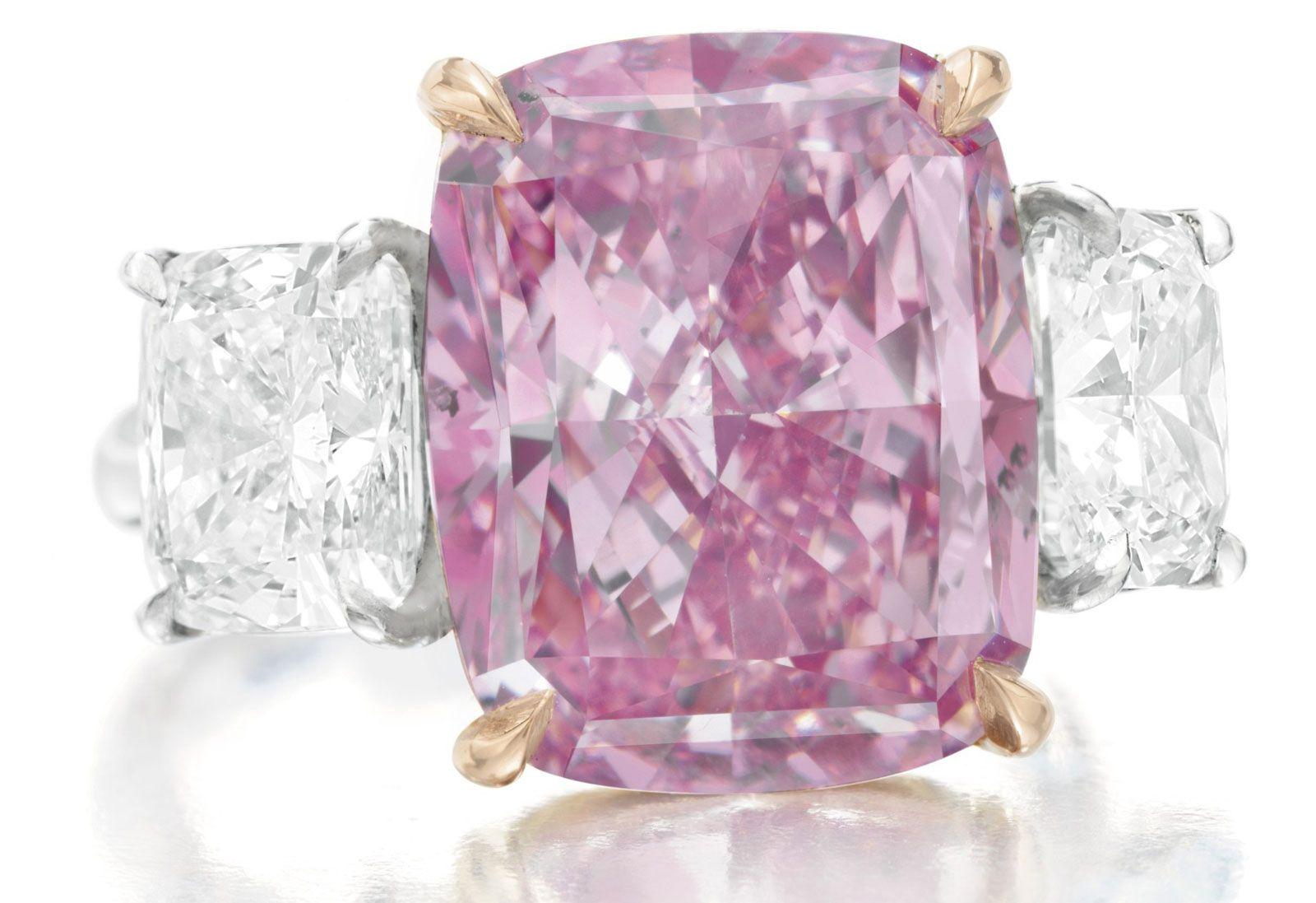 10.09 ct. Fancy Vivid purplish-pink cushion cut diamond, expected to ...