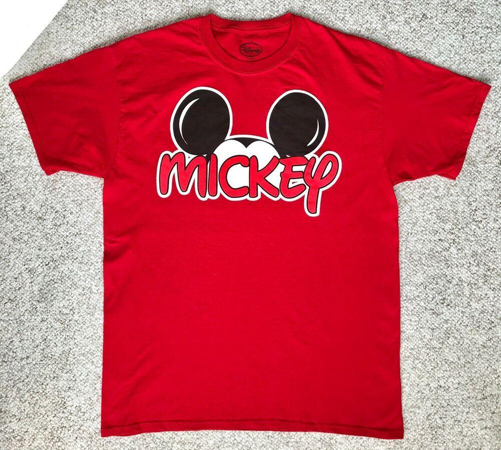 euc! MICKEY MOUSE EARS TSHIRT red 100cotton big logo