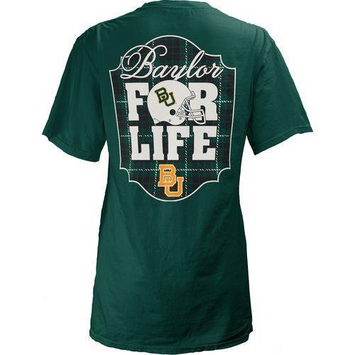 Three Squared Juniors' Baylor University Team For Life Short Sleeve V-neck T-shirt (Green Dark, Size