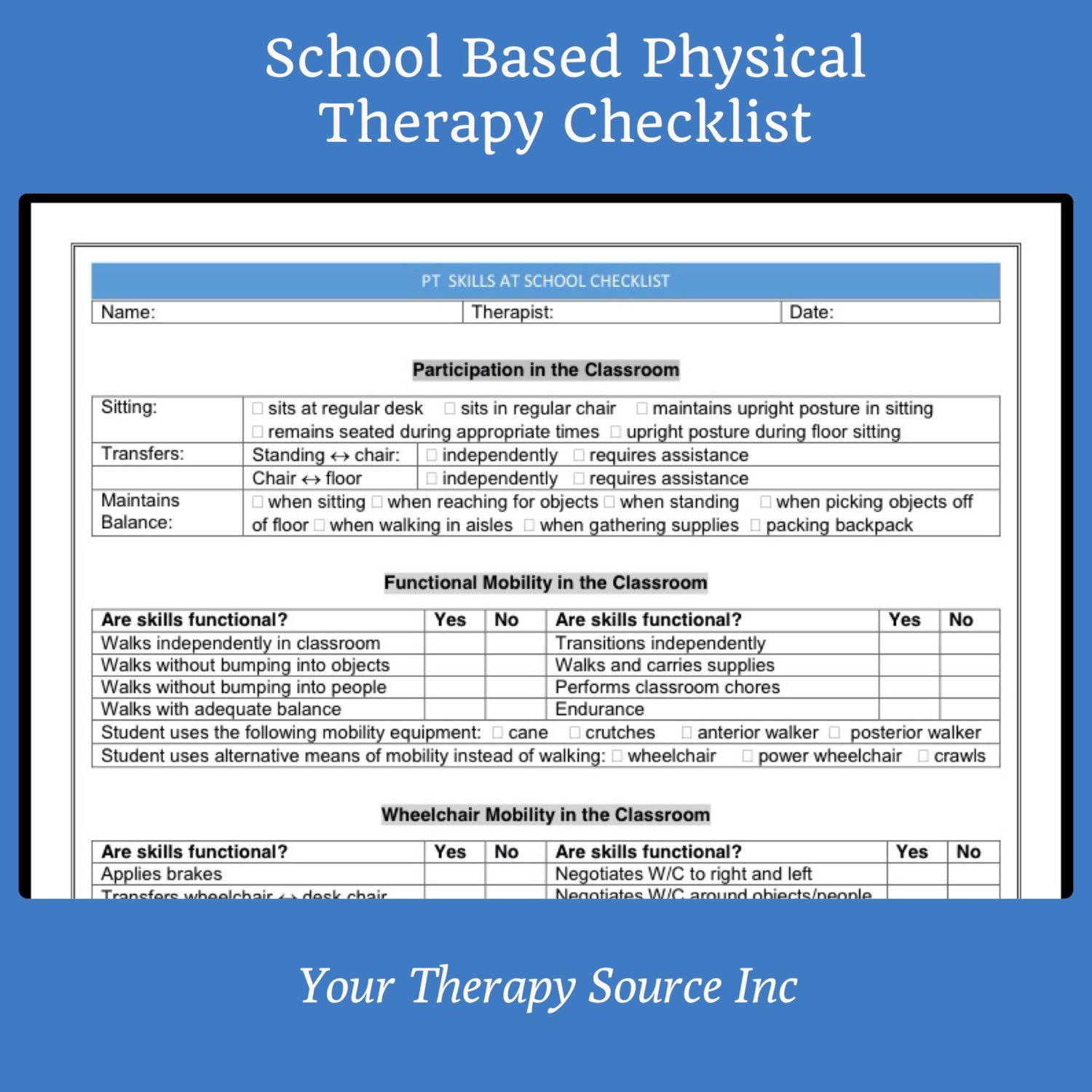 School Based Physical Therapy Checklist Physical therapy