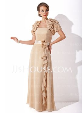 I love the jacket to this dress...comes in chocolate and can have sash red or beige or ivory or leave brown--the rosettes remind me of the burlap flowers I am making....Sheath Strapless Floor-Length Chiffon  With Sash...I so seriously want this dress.