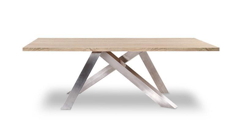 Table gent bois pieds acierinox mobiliermoss 669 meubles charly en 2018 pinterest - Table de salle a manger pied central ...