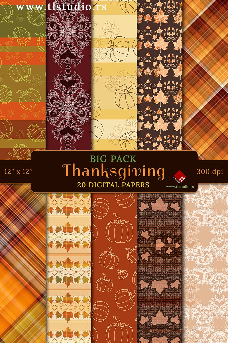 Thanksgiving Digital Paper Big Pack Commercial Use Autumn Etsy In 2020 Digital Scrapbook Paper Digital Paper Scrapbook Background
