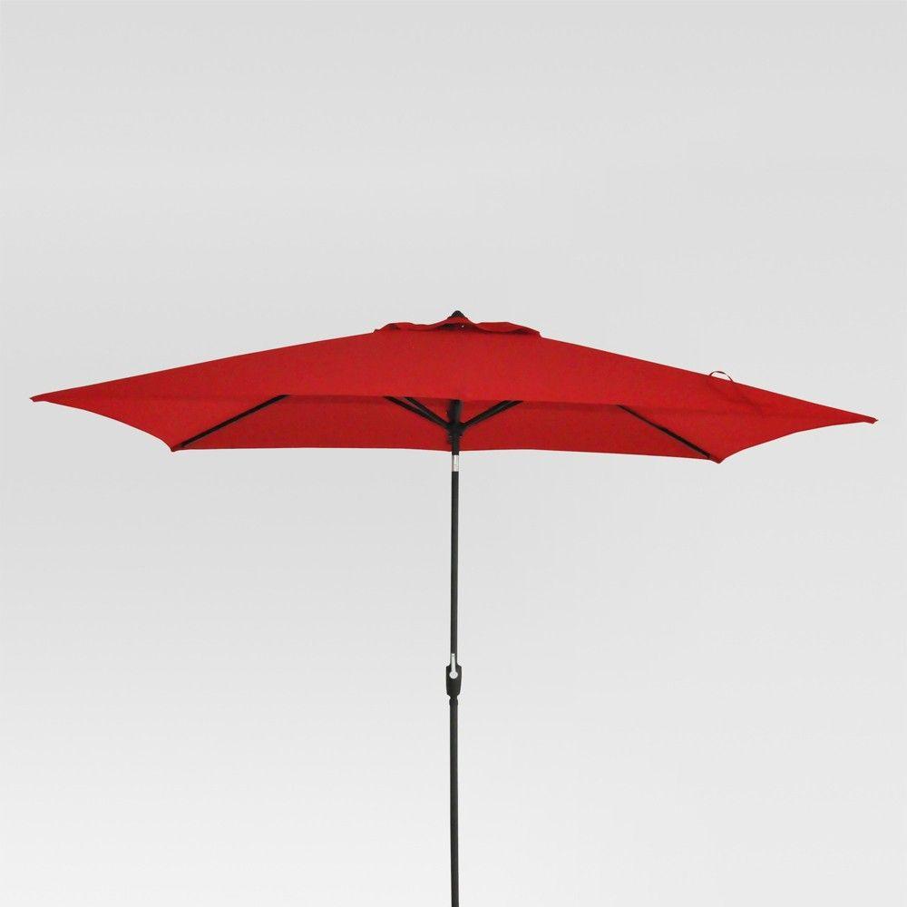 966ffc7a9a26 6.5' x 10' Rectangular Patio Umbrella Red - Black Pole - Threshold ...