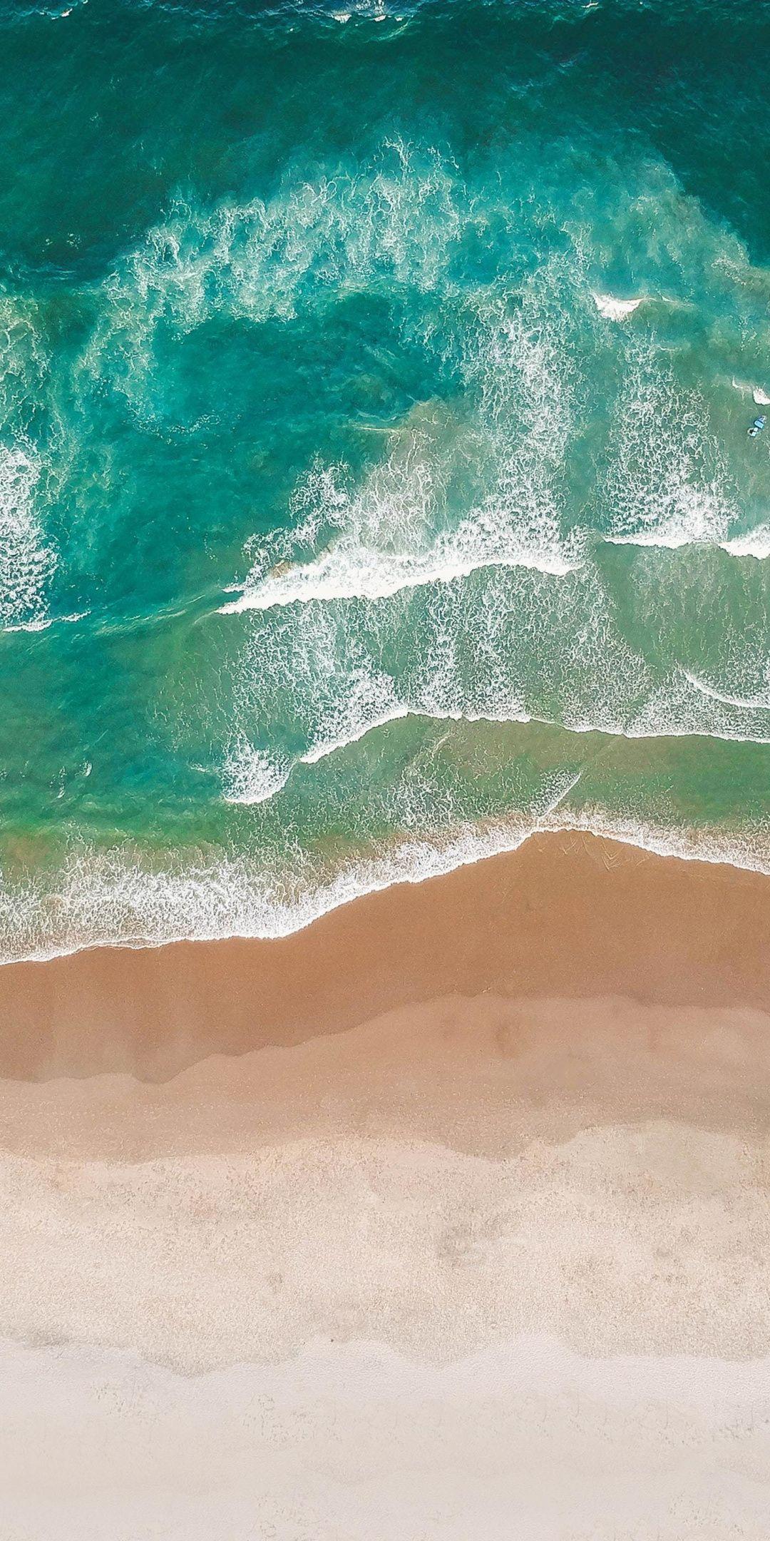 1080x2160 Green Waves Beach Aerial View Wallpaper View Wallpaper Iphone Wallpaper Ocean Aerial View