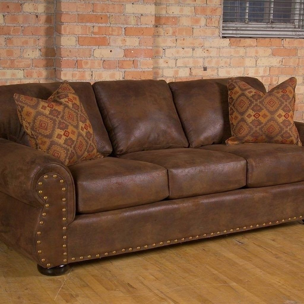 Western Leather Sofa Sleeper Rustic Couch