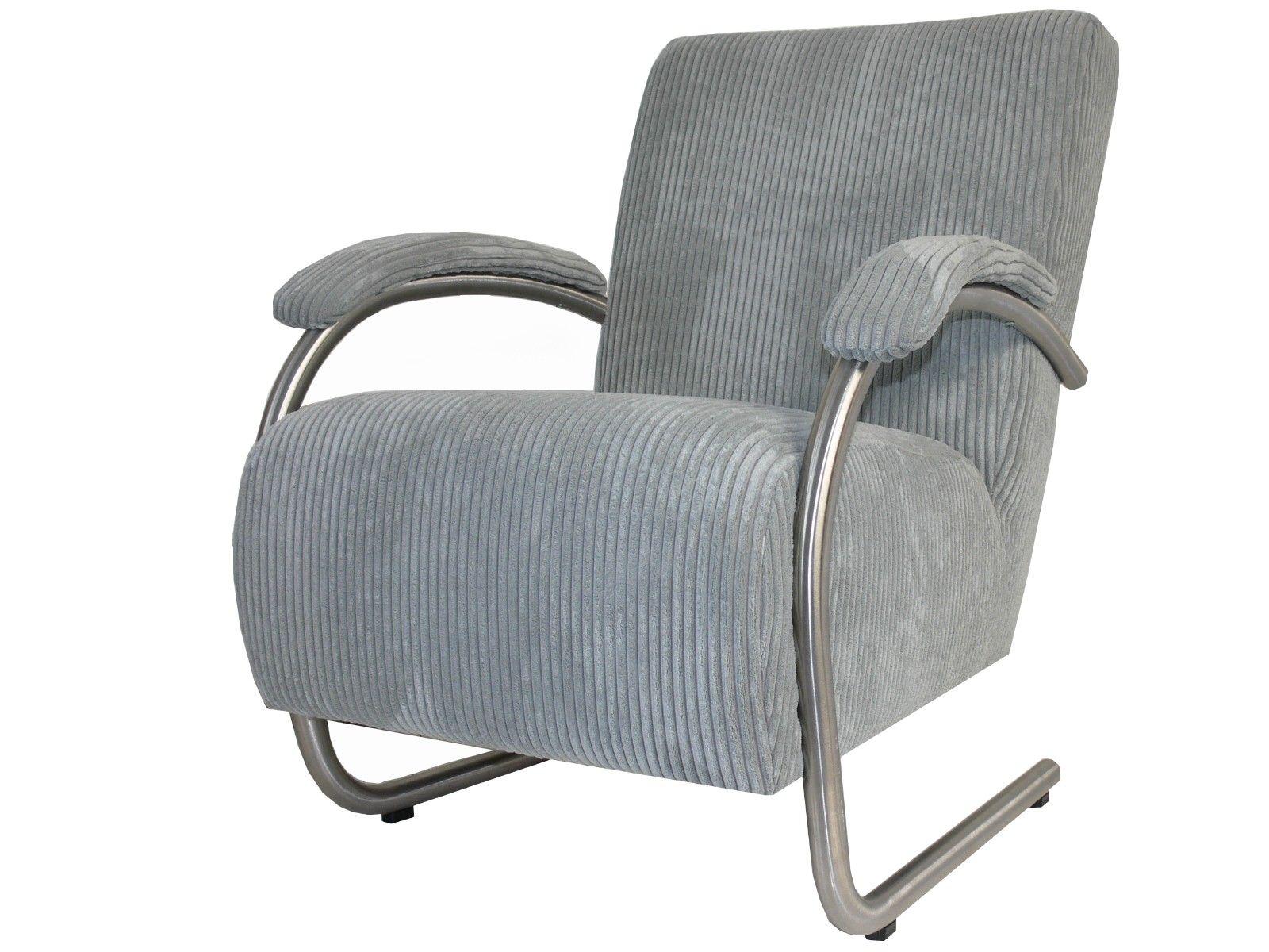 Moderne fauteuil vegas met ronder armleuningen van rvs afgewerkt in