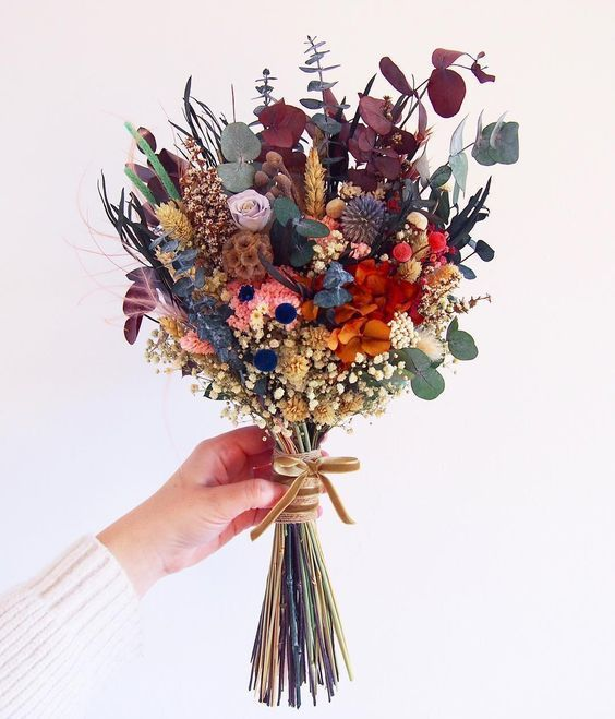 colorful dried flower bouquet