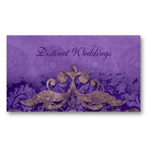 Salon Business Card Antique Verdigris Wedding Planner Purple Bronze