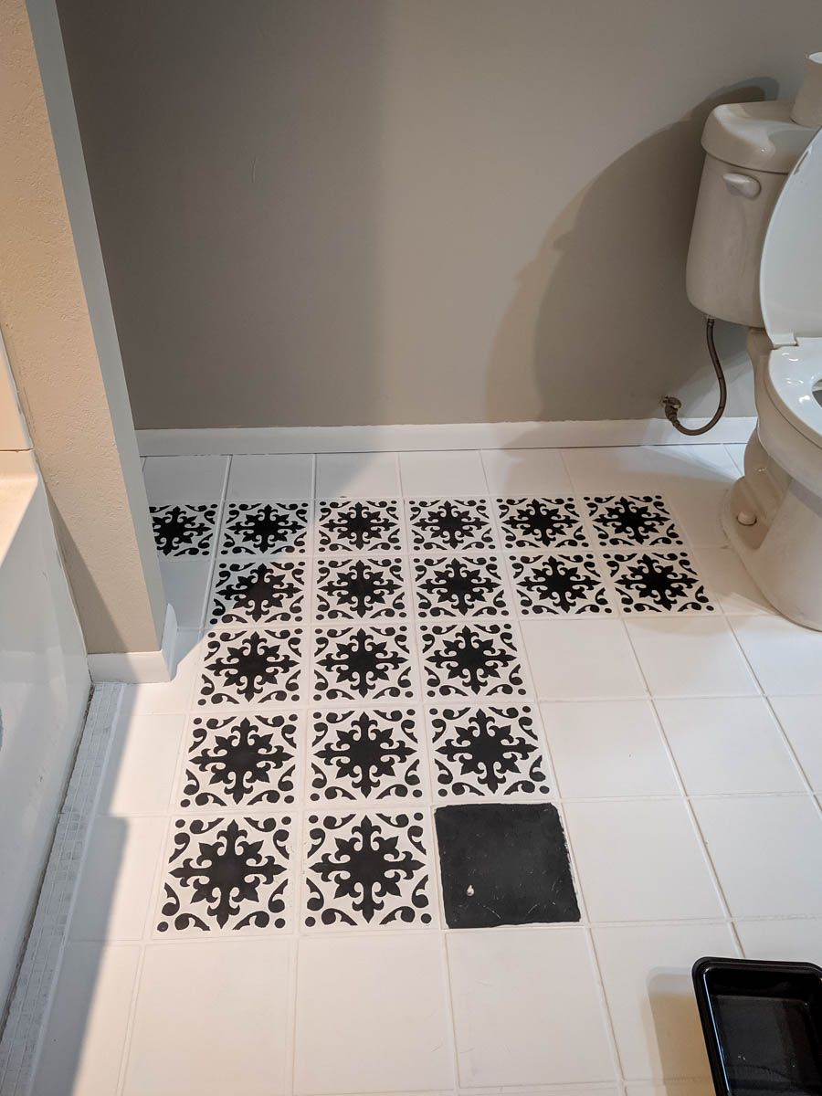 A Bathroom Update How To Paint Your Bathroom Tile Floor Bathroom Floor Tiles Painting Tile Floors Painting Bathroom