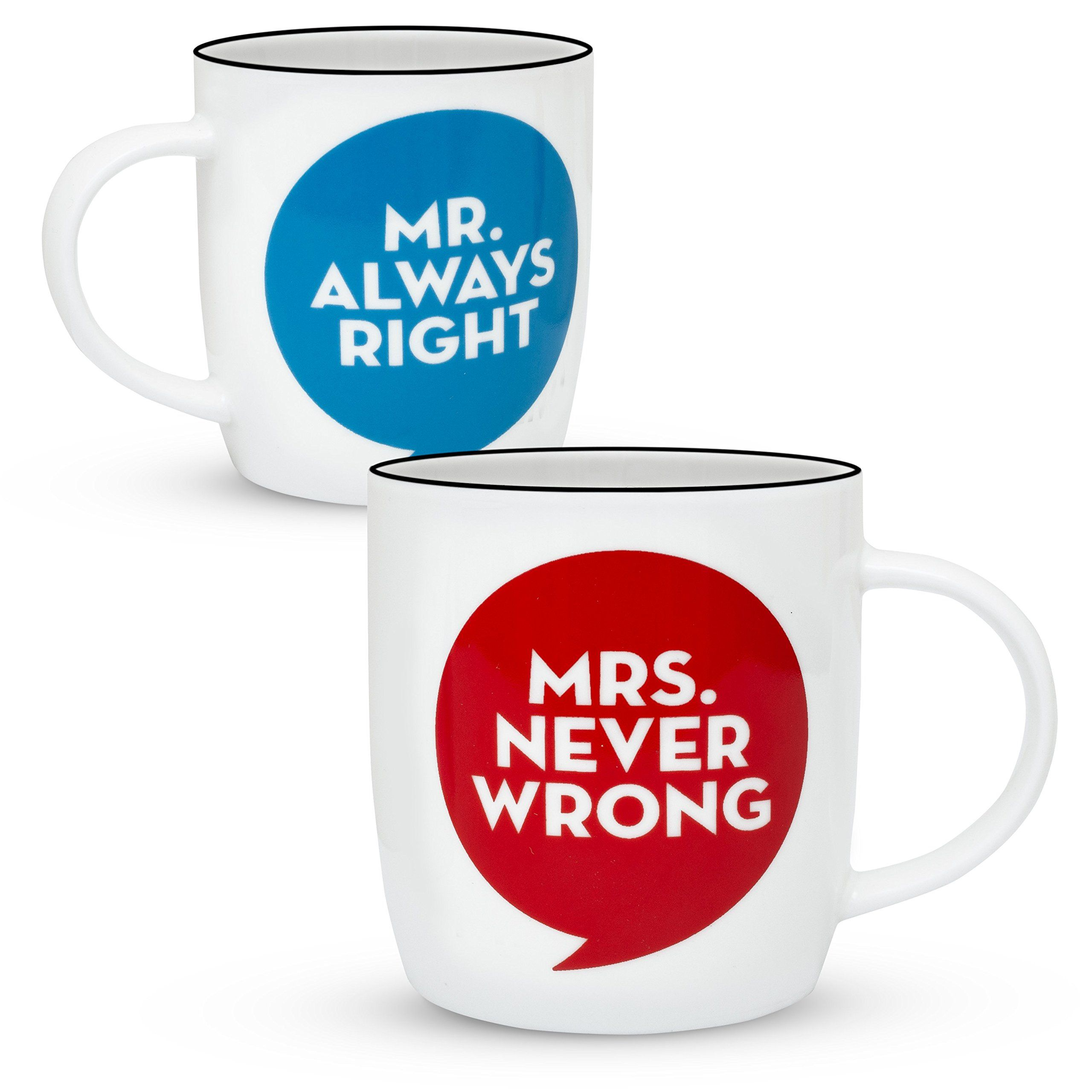 9a7ba957aa Gifffted Mr Always Right and Mrs Never Wrong Coffee Mugs For Couple Wedding  Anniversary Engagement Gifts