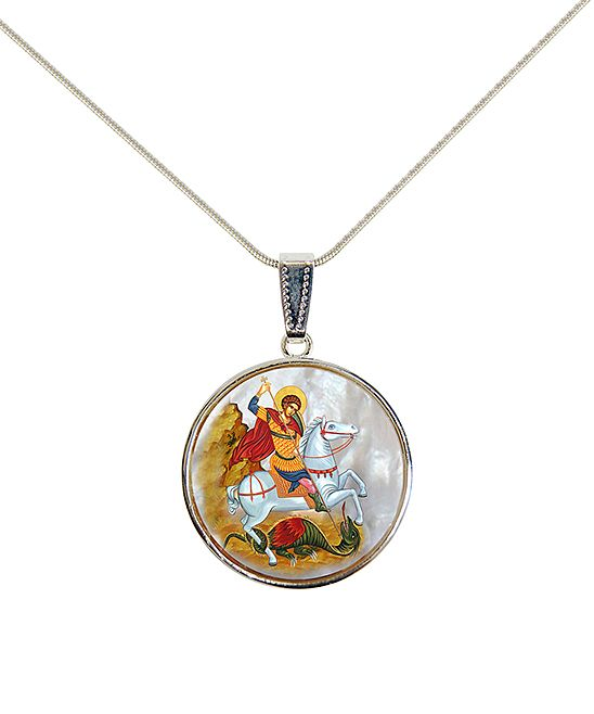 Mother-of-Pearl St. George Circle Pendant Necklace