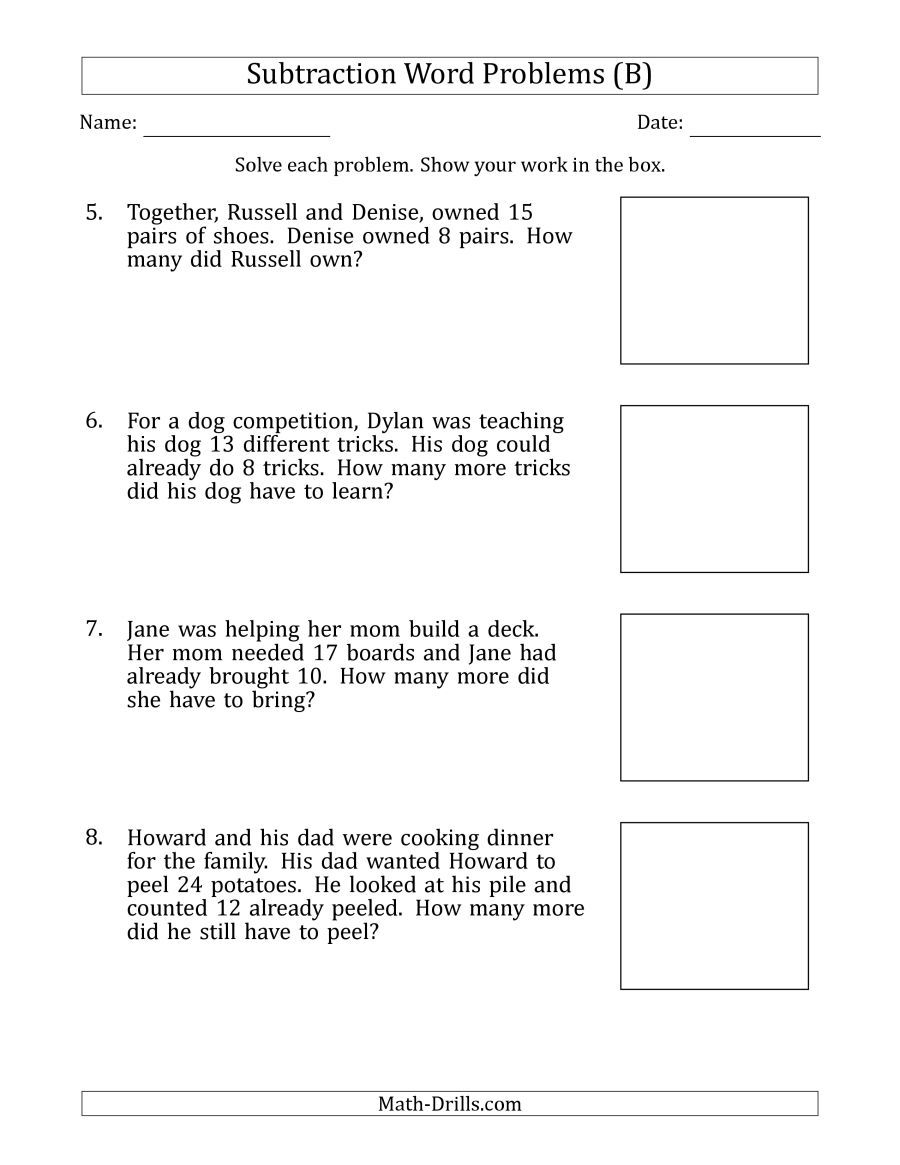 The Subtraction Word Problems With Subtraction Facts From 5 To 12 B Math Worksheet Division Word Problems Word Problem Worksheets Subtraction Word Problems