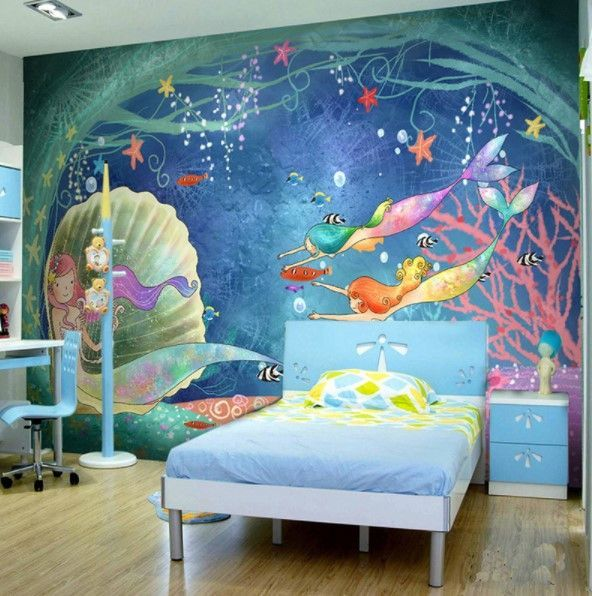 Cartoon Under The Sea Mermaids Fish Wallpaper For Kids Room Kids Room Wallpaper Childrens Bedroom Wallpaper Kid Room Decor
