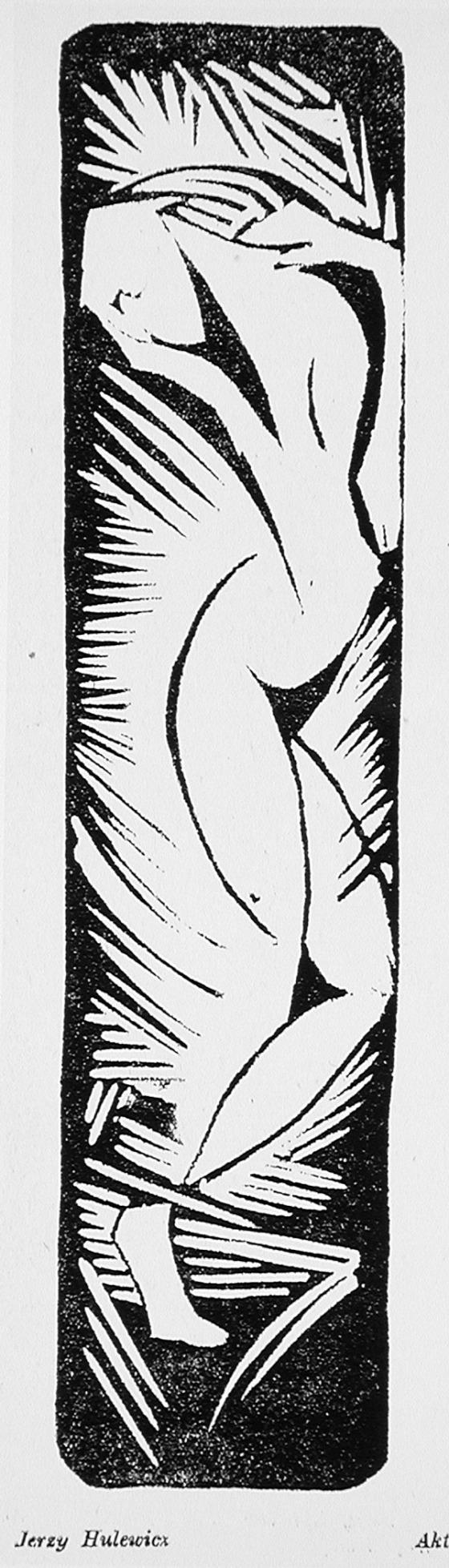 Jerzy Hulewicz (Poland 1886 - 1940), Nude, 1918, woodcut. Image size 7 3/4 x 1…