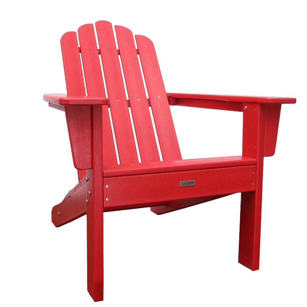 Luxeo Marina Red Poly Plastic Outdoor Patio Adirondack Chair Lux
