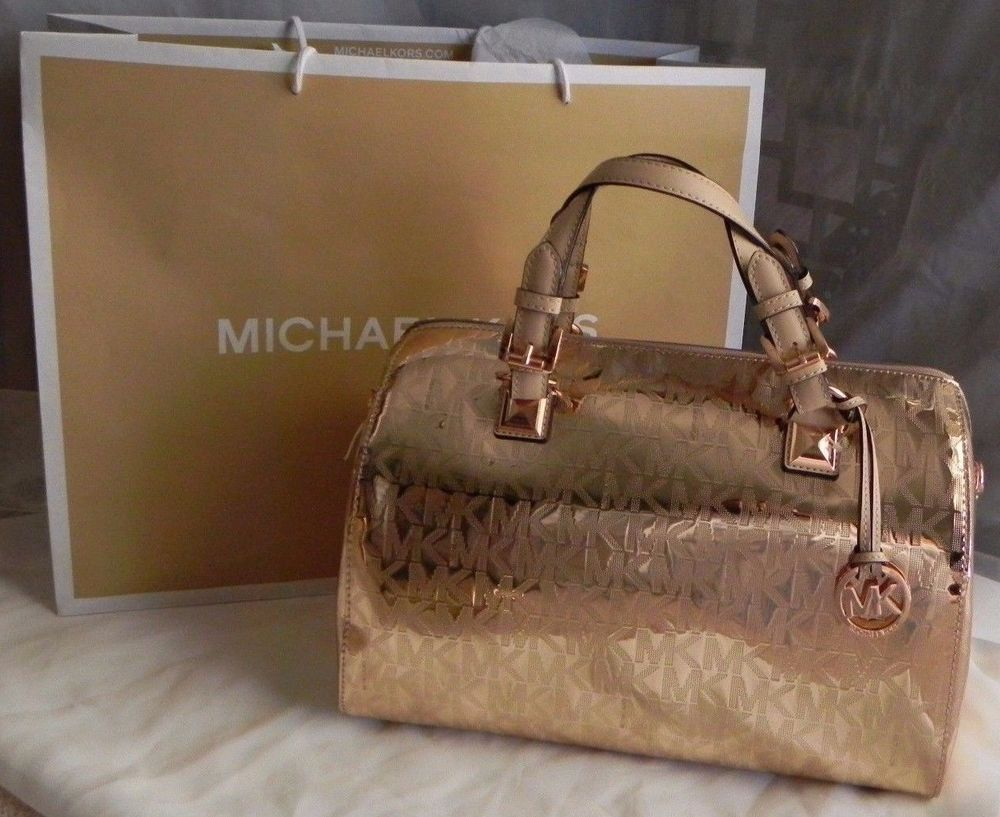 727df27ae2d0 Michael Kors Rose Gold Metallic Mirror Signature Grayson Large Crossbody  Satchel #MichaelKors #Satchel