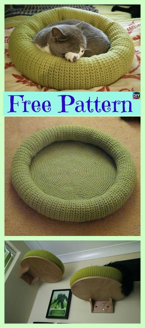 Free Crochet Cat Bed Patterns to make, cat caves, donuts, pouffes ... | 1073x474