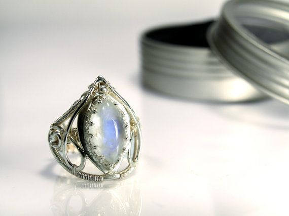 Rainbow Moonstone Cocktail Ring with Anti-Tarnish 935 Silver, Ring ...