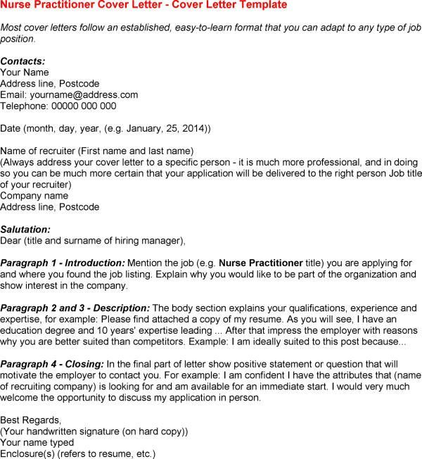 Cover Letter Template Nurse Practitioner Cover