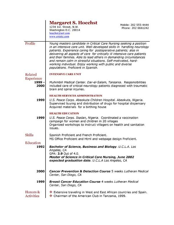 explore sample resume and more - Free Example Resumes