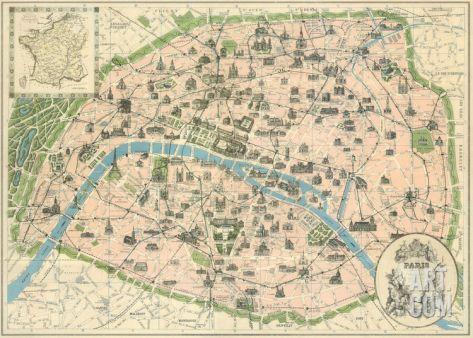 Vintage Paris Map Art Print The Vintage Collection Art Com In 2020 Vintage Paris Map Paris Map Paris Map Print