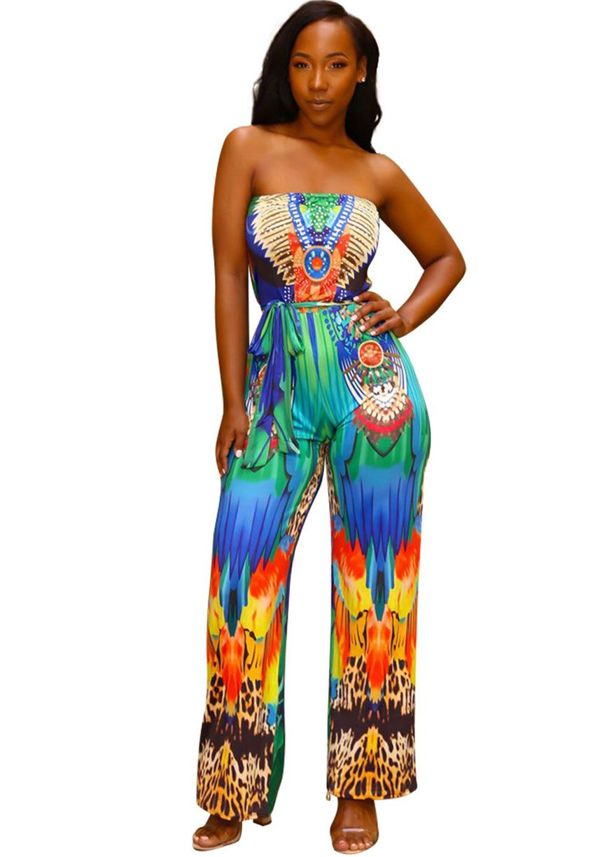 a8b2f8ccfe1 Multi-Color Printed Off The Shoulder Belted Jumpsuit Jumpsuit ...