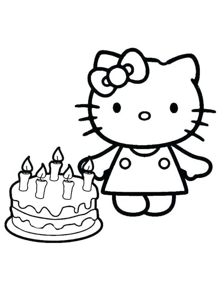 Coloring Pages Of Birthday Cake Hello Kitty Birthday Cake Is A