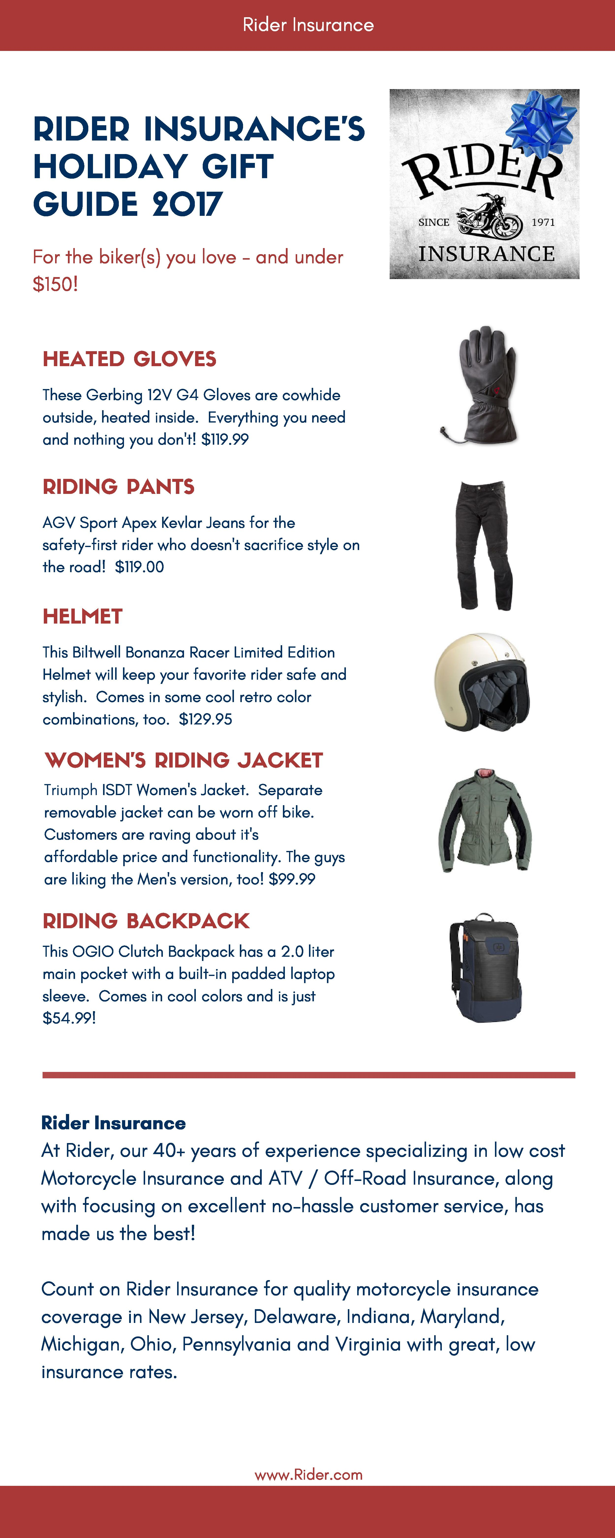 Rider Insurance S Holiday Gift Guide 2017 Motorcyclist Gift Guide
