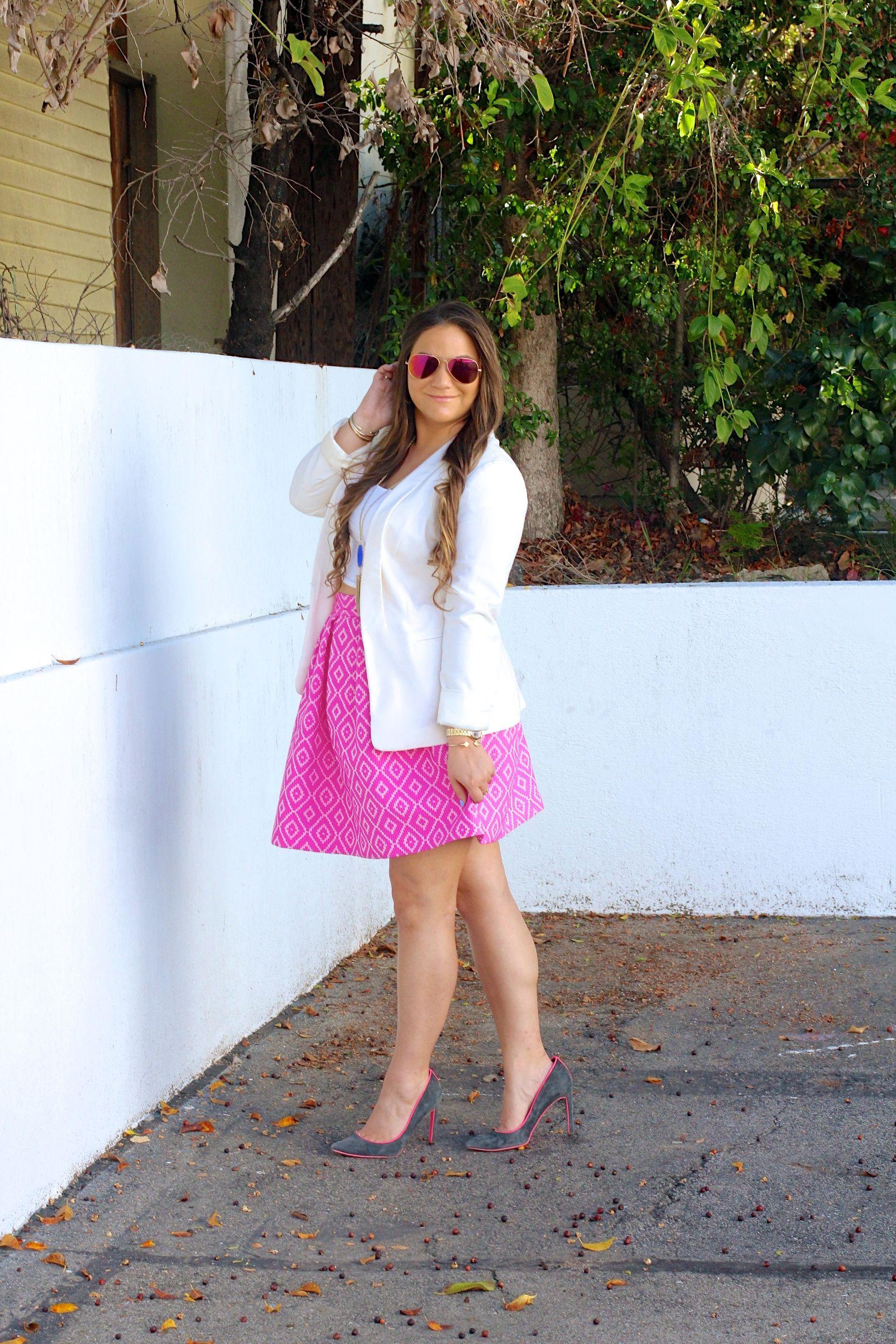 missyonmadison, melissa tierney, hutch design, pink midi skirt, pink  printed skirt, 1c1779086f