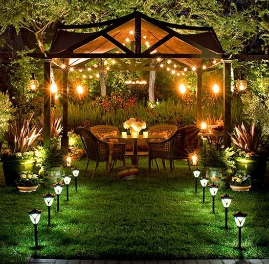 Outdoor Gazebo Lighting Glamorous Back Yard Haven Enchanted Pinterest  Backyard Yards Review