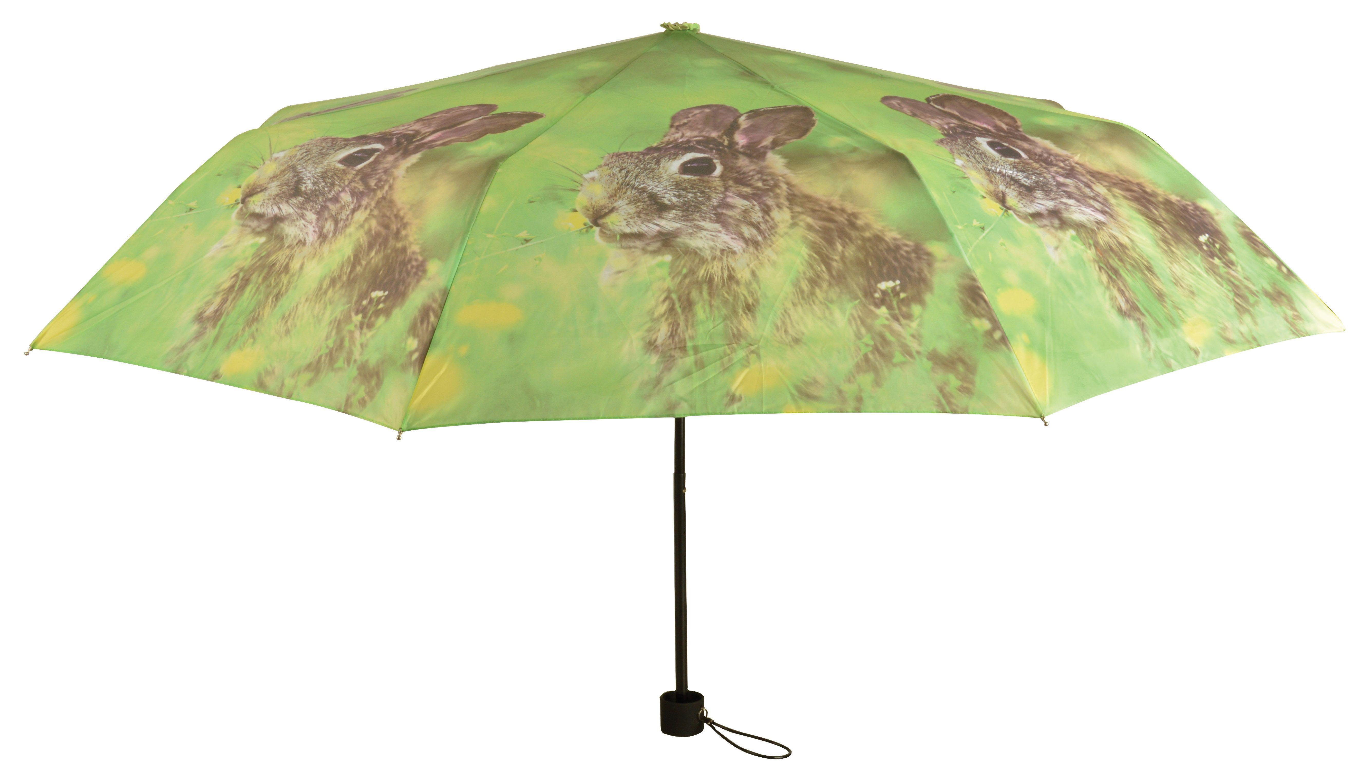 De TP151 van Esschert Design, een opvouwbare paraplu met een afbeelding van een konijn. Te koop bij www.robanjer.nl