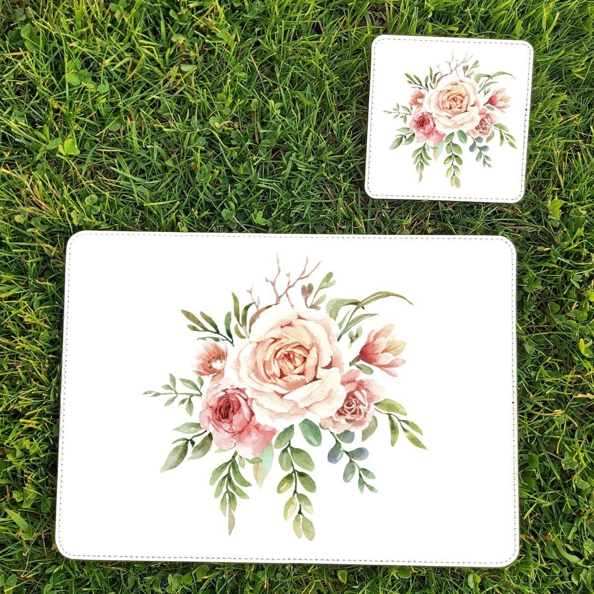 Flower Placemat And Coaster Set In 2020 Placemats Coasters Coaster Set