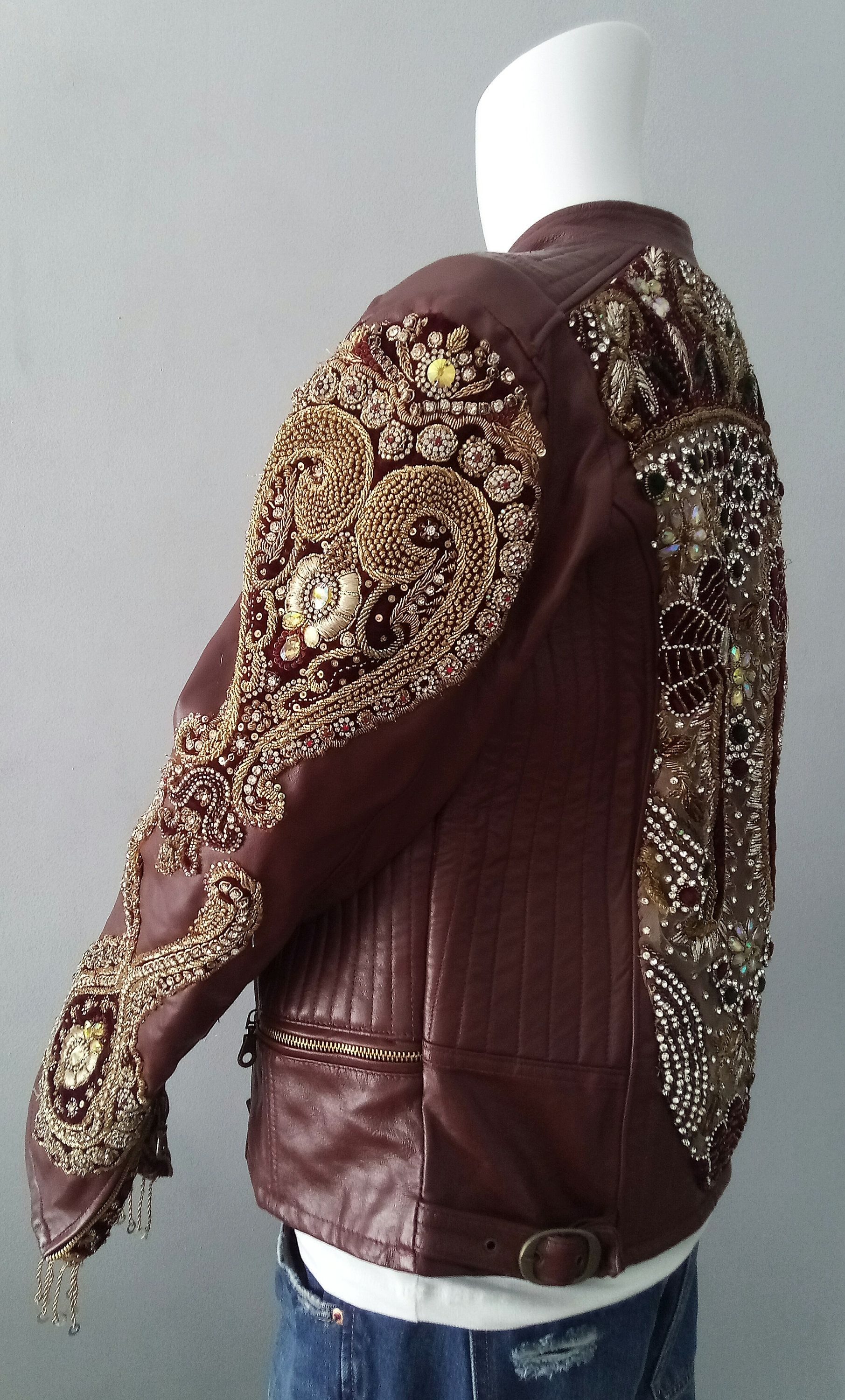Leather Indian Jacket Indian jackets, Embroidered
